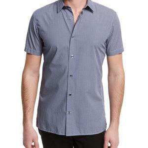 Vince short sleeve blue chevron button down shirt